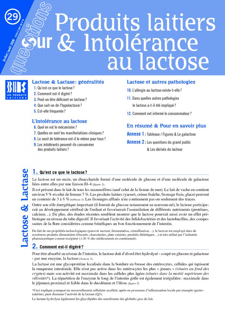 Produits laitiers et intolérance à la lactose